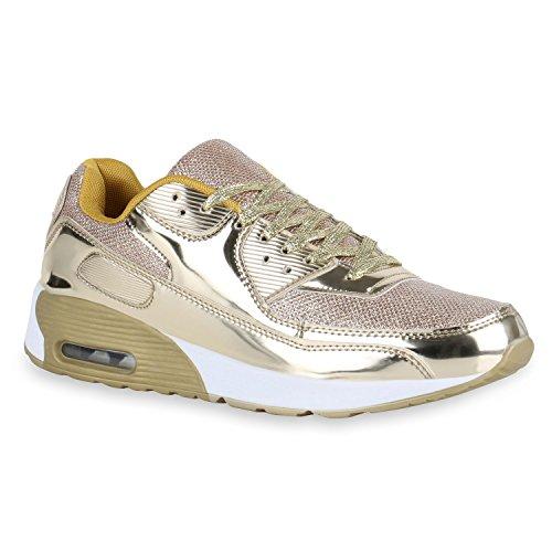 Herren Sport Leder-Optik Sneakers Velours Glitzer Metallic Runners Freizeit Schnürer Schuhe 140421 Gold Brooklyn 43 Flandell