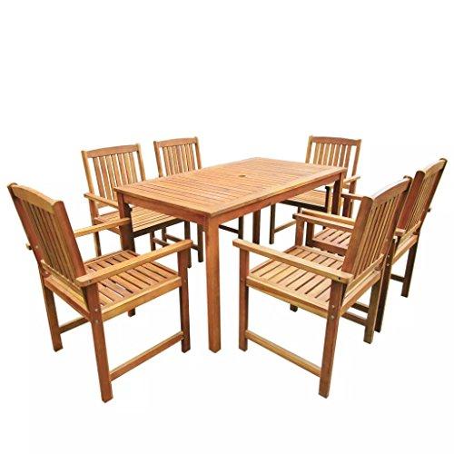 Tidyard Ensemble de Mobilier de Jardin 7 pcs 1 Table et 6 Chaises en Bois d'acacia Massif Marron 140 x 80 x 74 cm