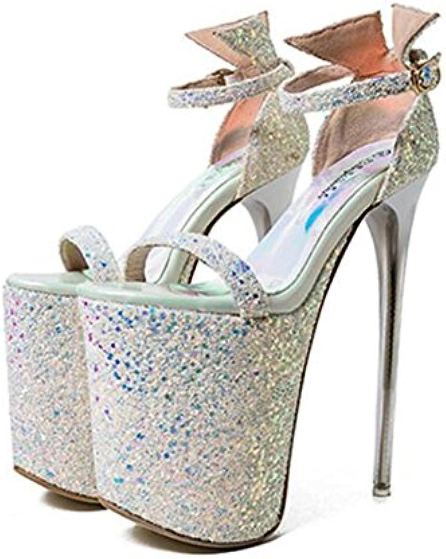 GAOGENX Scarpe da Donna Paillettes Piattaforma Cinturino alla Caviglia Tacco a Spillo Vestito Festa Club Dimensione... | Primo nella sua classe  | Uomini/Donne Scarpa
