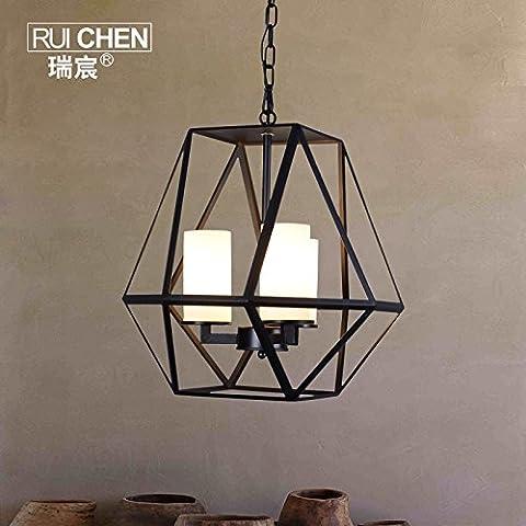 Lámpara Colgante moderno Pueblo Americano geometría candelabros de hierro forjado estilo europeo moderno minimalista con reminiscencias del Salón restaurante creativo ,45*45cm araña