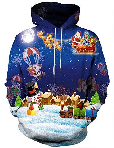 LAIDIPAS Unisex 3D Gedrucktes Kapuzen Sweatshirt Lässige Paar Pullover Christmas Hoodies Große Taschen XL (Lässiges Xl Herren)