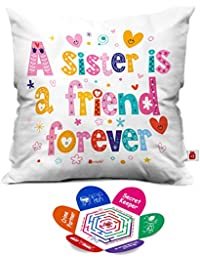 Indigifts A Sister Is Friend Forever Colorful Quoted Letter Micro Satin Fibre Cushion With Filler (12X12 Inch) - White(Square)