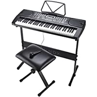 Zennox Electronic Keyboard with Stand, Stool & Microphone 61-Key Piano, LCD Screen, Perfect for Beginners (61 Key Electric Keyboard with Stand)