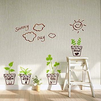 Pvc Wand Aufkleber Sonnigen Tag Pflanze Blumen Spiegel Abnehmbare Farbenfrohe Wohnzimmer Einrichtung Mittel Amazonde Kche Haushalt