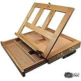 Artina Boite Mallette Chevalet de table Colmar Porte livre planche à dessin + tiroir et 3 compartiments - 33,5x26x27cm