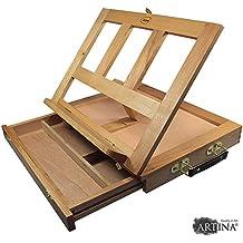 Artina - Caballete de mesa Colmar - Tabla de dibujo - Soporte para libros - 33,5x26x27 cm - Con cajón