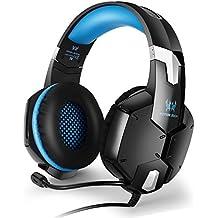 EasySMX [PS4 Auriculares Gaming Headset] Ofertas G1200 Auriculares Estéreo para PS4/ PC/ Laptop/ Móvil/ Pad-con Micrófono Ajustable y Controlador de Volumen con una Tecla Mute (Azul)