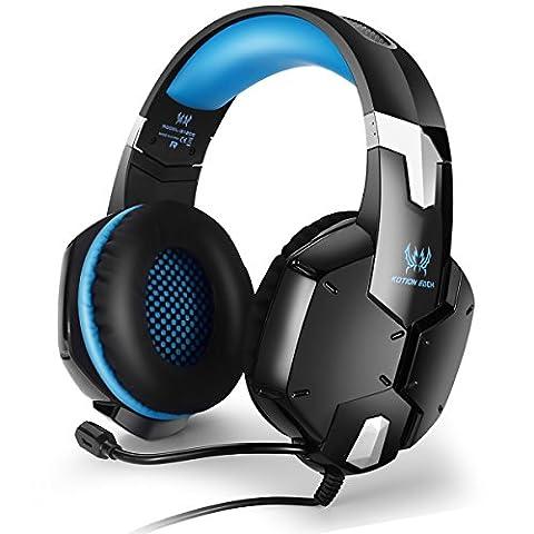 [Micro-Casque PS4] EasySMX G1200 Micro-casque Stéréo Basse Casque Gaming avec Microphone Réglable et Contrôle de Volume One-key Muet Compatible bien pour PS4 PC Games Laptop Mobile Téléphone (Noir+Bleu)