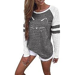 MORCHAN Femmes Dames Chat Impression T-Shirt à Manches Longues Tops Blouse(Noir,FR-44/CN-2XL)