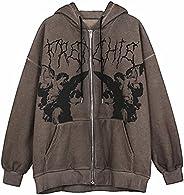 Women's Y2k Hoodie Zip Up Oversized Sweatshirt E-Girl Vintage Long Sleeve Coat Skull Skeleton Printed Jack