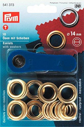 PRYM Metall Ösen und Scheiben 14 mm gold Messing (10PK) -