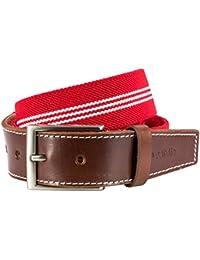 STRETCH Stoffgürtel Textilgürtel Bandgürtel mit Lederendstück / Gürtel Herren Pierre Cardin, 70143 rot-weiss