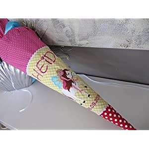 Elfe auf Einhorn gelb-pink-rot Schultüte Stoff + Papprohling + als Kissen verwendbar
