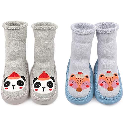 Adorel Calcetines Zapatos Antideslizantes Forros Bebé 2 Pare Azul Zorro-Gris Panda 8-12 Meses Tamaño...