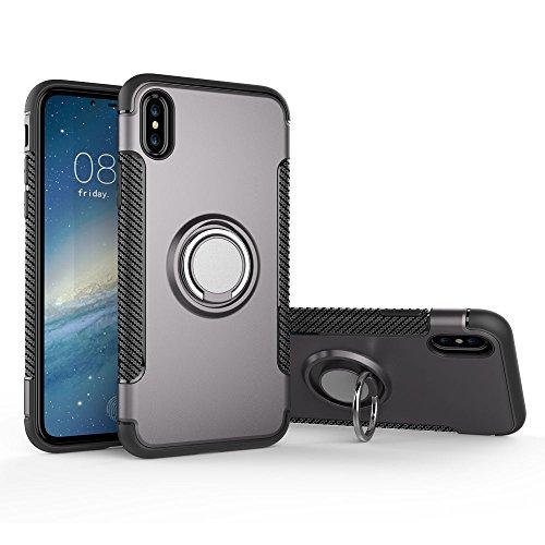 UKDANDANWEI Apple iPhone X Hülle mit 360 Grad Full Body Ring Ständer, Hybrid Dual Layer Defender Handyhülle Case [Shock Proof] für Apple iPhone X - Gold Grau