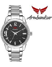 Armbandsur silver case black dial watch-ABS0054GSB