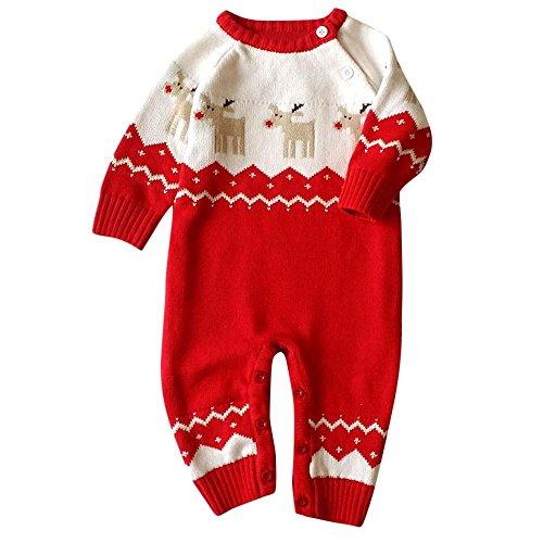 Culater 2017 Natale Vestiti della neonata, Morbido Pile per Bambini One Pieces Tute Pigiama 0-22 Mesi Neonato Ragazza dei Ragazzi Vestiti del Bambino Costumi (Rosso, 4-8 Mesi)