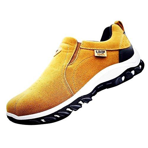 Chaussures de Randonnée homme Imperméable Suede Sportif Confort Jaune