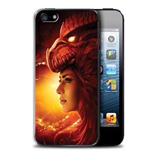 Officiel Elena Dudina Coque / Etui pour Apple iPhone SE / Pack 5pcs Design / Dragon Reptile Collection Fille Rouge