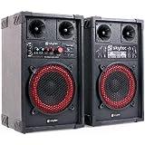 "Skytec SPB-8 Sonido profesional Pareja de Altavoces activo / pasivo DJ subwoofer 20cm (8"") 400W aux USB, SD CD, MP3 MDF Sección de micrófono"
