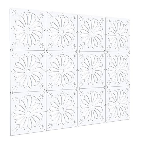 Kernorv Biombo de separación DIY Habitación Divisor Separador de ambientes Decorativos 12 Paneles Blanco (Elegante (Blanco))
