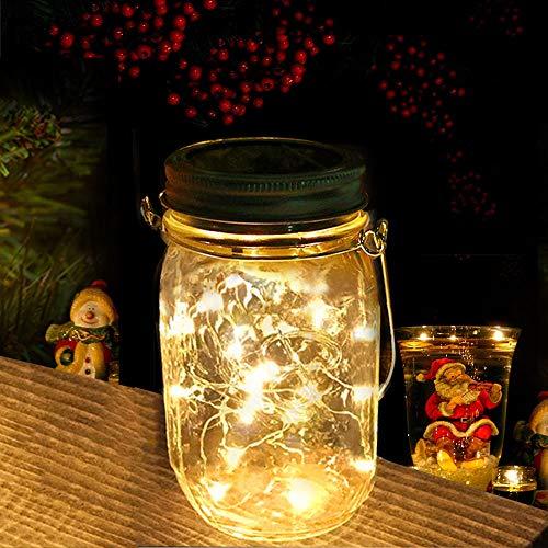 Nasharia Solar Mason Jar Light Jar Fee Luce Esterna, Vetro Impermeabile Lampada a Sospensione da Giardino, LED Illuminazione di Natale, String Luce per Feste, Decorazione di Nozze (Bianco Caldo)
