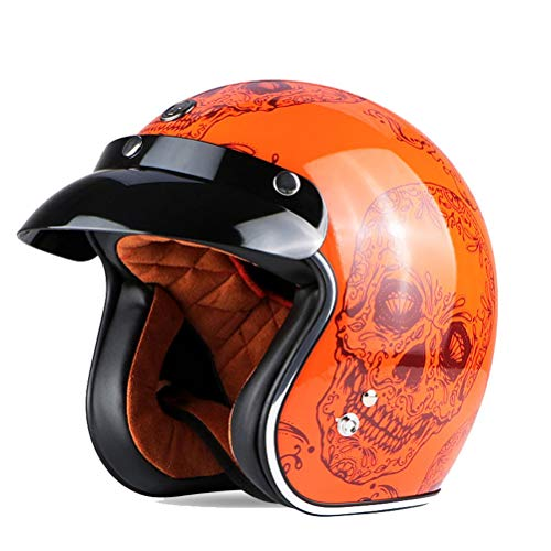 Uomini Retro Harley Motorcycle Casco Fibreglass 3/4 Open Face Scooter Caschi Leggero Comfort Donne Electric Motorbike Safety Caps Stagioni Universal
