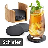 Sidorenko Schiefer Untersetzer rund für Gläser - 6er Set Ink. Box - Design Glasuntersetzer in dunkelgrau für Getränke, Tassen, Bar, Glas - Premium Tischuntersetzer Schieferplatte