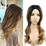 HANNE Ombre Color Long Curly Wig Heat Resistant Synthetic Cosplay Wig Full Wig for Women Party Wigs (3 Tone Ombre)