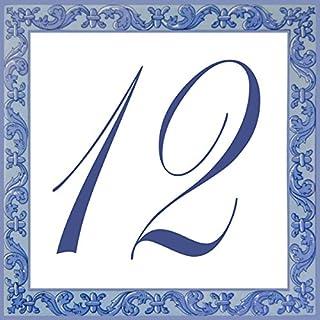 Azul'Decor35 Straßenschild personalisiert Steingut - 10,8x10,8x0,5cm - Hausnummer personalisiert Wahl!