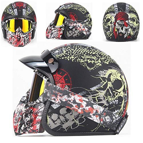 Berrd Casco moto Retro Open Face Casco moto retrò da corsa con maschera Maschera HD nero opaco 2 S