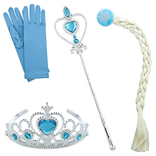 Ton Blau Halloween Ice Frozen Princess Kostüm-Set 4 (Princess Halloween-kostüme)