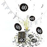 Geburtstagsdeko, Tisch-Deko, Set 40. Geburtstag | knuellermarkt.de | Girlande, Serviette, Dekoration, gedeckter Tisch, Konfetti