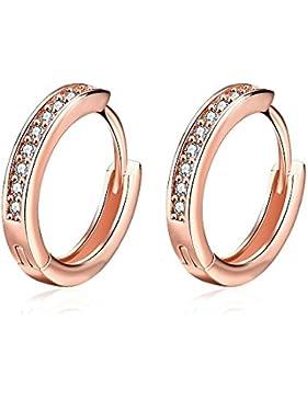 Hanie Rosegold Creolen Ohrringe Durchmesser 17mm Klappcreole Ring mit Weiß Swarovski Elemente Kristall Rund Zirkonia...
