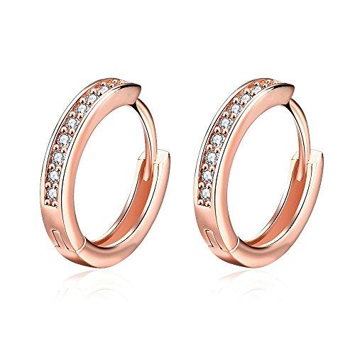 YAZILIND Fashion Shining Roségold überzogen Hohle runde Form mit weißen Zirkonia Design Reifen Ohrringe