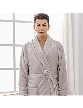 DDOQ Tipo Largo de la Franela Espesada Albornoz de la Pareja Cálido Pijama de Invierno Pijama (Color : Grey, Tamaño...