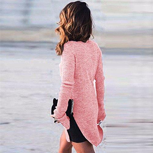 Malloom Femmes haut-cou à manches longues tricot slim split chandail top chemise chemisier Rose