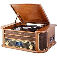 MUSITRMUSITREND Giradischi con 3 Velocità e Altoparlanti Incorporati, vinile in legno con ingressi USB, CD, Radio Tape funzioni di registrazione, DAB/FM Radio