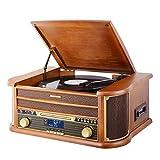 MUSITREND Nostalgique Platine vinyle à 3 vitesses avec des haut-parleurs stéréo intégrés, Lecteur multifonctions CD, disques vinyles, DAB/FM Radio, Marron