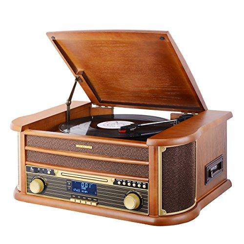 MUSITREND Nostalgie Retro Kompaktanlage Plattenspieler, DAB Stereo Komplettanlage UKW/DAB(+) Radio, CD (MP3), USB, Kassettenabspieler, Aux-in, Direct-Encoding-Funktion, Braun (MT-402)