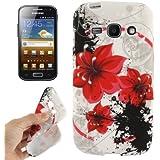 Rocina TPU Case für Samsung S7272 Galaxy Ace 3 Blüte rot/schwarz/weiß