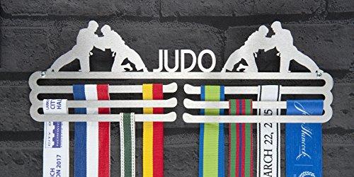 Macho Judo Triple niveles acero inoxidable medalla percha pantalla