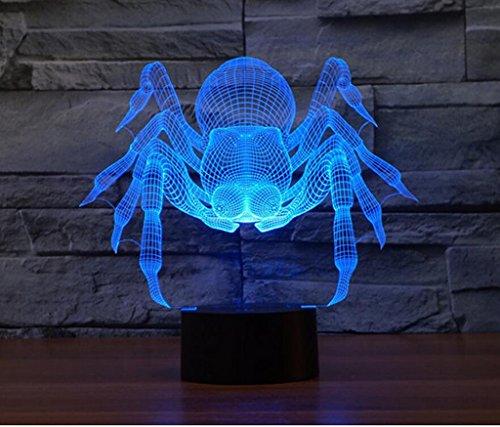 WCUI The 3 D Petite lampe de bureau, Creative The LED Un cadeau d'anniversaire The Spider Desk Lamp Seven Color Touch Visual Light Décoration de mariage USB Plug-in Électrique Saint-Valentin Lampe de bureau Touch Switch Sélectionner ( Size : 201*216*87mm )