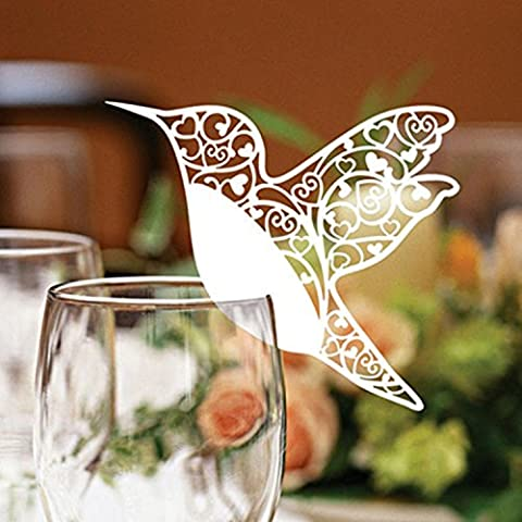 buyhere Haustierhalsband mit Laser geschnitten Elfenbeinfarben Kolibri Tischkarten für Hochzeit