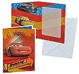 Unbekannt Einladungskarte zum Schulanfang - Disney Cars mit Umschlag - Karte Karten für Jungen Schuleinführung Schulstart Queen Lightning Auto Jungen McQueen Autos Auto Einladung