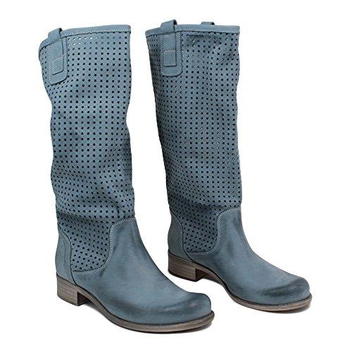 Stivali Traforati Alti Estivi Biker Boots Donna In Time 0212 Blu Jeans in Vera Pelle Made in Italy Jeans