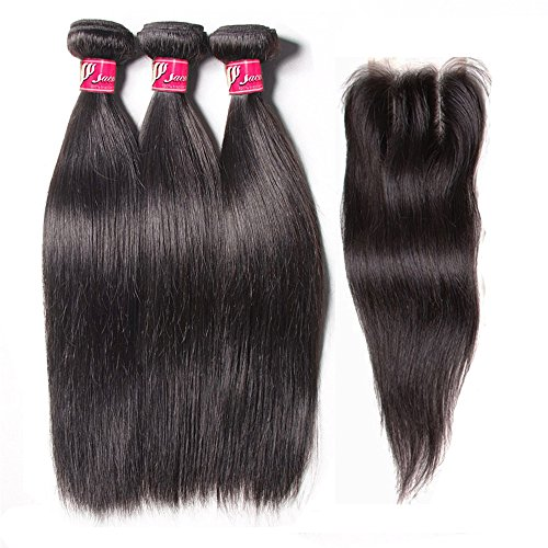 SAOMAI®Unprocessed 7A Brazilian Virgin Human Hair Straight Weave 3 Bundles Hair Extensions With Lace Frontal Closure Bleached Knots Natural Hair Bundles100g/bundle (12''14''16''+10'', Three part closure)