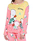 #4: Nightwear Pyjama Set For Women / Night dress / Lounge wear/Yellow and Pink / Ducklings Printed / Full Sleeve / Pure Cotton/ Western Wear Top and Pyjama Set For Women By FflirtyGo