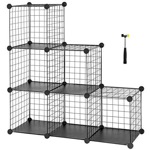 SONGMICS Steckregal aus Drahtgitter individuell aufstellbar Cube Sideboard Regalschrank 93 x 93 x 31 cm (B x H x T) Schwarz LPI111H