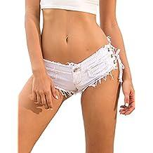 a122029e6cab9b Minetom Denim Frauen Mädchen Sommer Quaste Party Nacht Club Ausgefranste  Seil String Shorts Hotpants Damen Shorts
